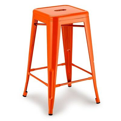 4 x Replica Tolix Bar Stool Chair Orange 66cm Dining Metal Steel Kitchen Cafe