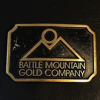 Vtg Battle Mountain Gold Company Brass Belt Buckle Dynabuckle Miner