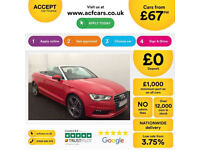 Red AUDI A3 CABRIOLET Convertible 1.8 2.0 TFSI Petrol S LINE FROM £67 PER WEEK!