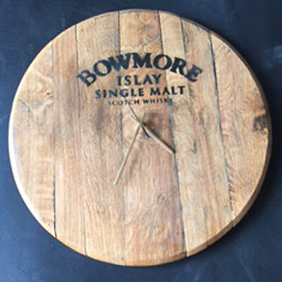 Recycled Solid Oak Bowmore Whisky Branded Whisky Barrel Cask Wall Clock