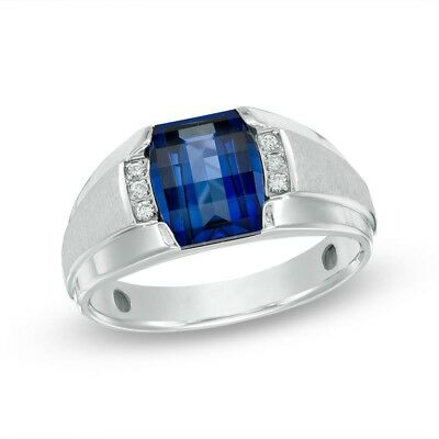 (Mens Barrel-Cut Created Blue Sapphire & Diamond Accent Ring 10k SOLID White Gold)