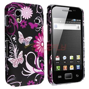 Pink Butterfly Flower Rubber Hard Cover Case for Samsung Galaxy Ace S5830