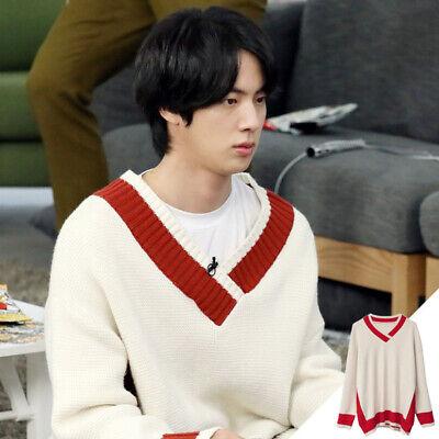 New BTS Jin Red Stripe Vneck Sweater Jumper Pullover Kpop Fashion