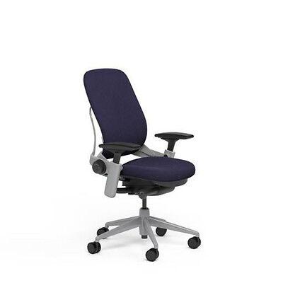 Large Steelcase Leap Plus Adjustable Chair V2 Buzz2 Crocus Fabric 500lb Platinum