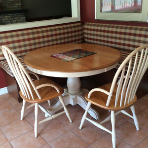 Kitchen table, chair and hutch set