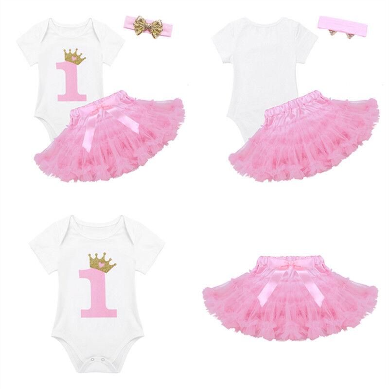 30d37bf2462c 3Pcs Baby Girl Toddler 1st Birthday Romper Tutu Skirt+Headband Set Princess  SuitUSD 4.65