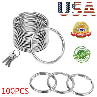 US STOCK LOT Key Rings Chains Split Ring Hoop Metal Loop Steel Accessories 25mm