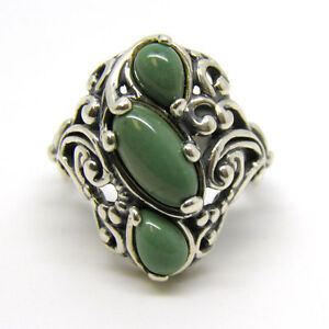Carolyn Pollack Green Turquoise Sterling Ring Size 5.5