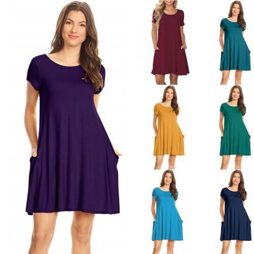 Women Short Sleeve Crew Neck Solid Pocket Causal Evening Party Formal Wrap Dress Clothing, Shoes & Accessories