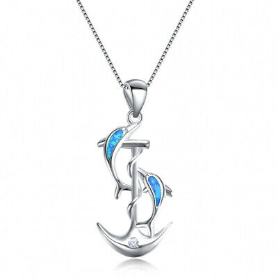 Fashion Lady 925 Silver Dolphin Blue Fire Opal Pendant Necklace Wedding Jewelry