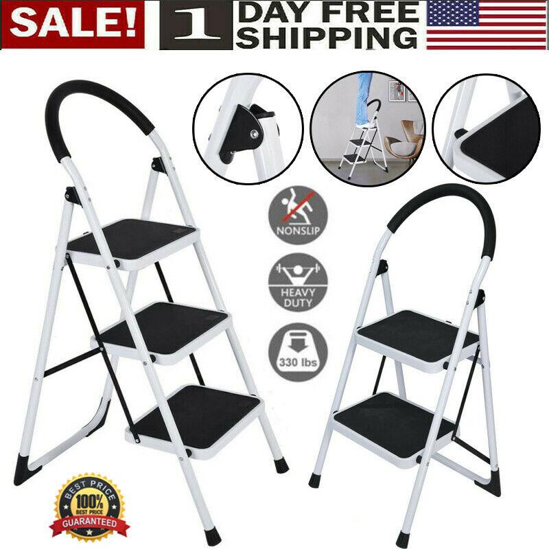 3 Step Ladder Folding Steel Step Stool Anti-slip Heavy Duty