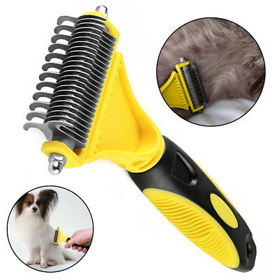- Pet Dog Cat Hair Fur Shedding Trimmer Grooming Dematting Rake Comb Brush Tool