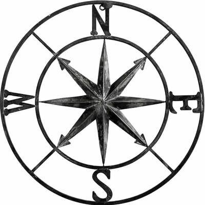 Nautical  Wall Plaque Metal Compass Sign Art Decor Large 30