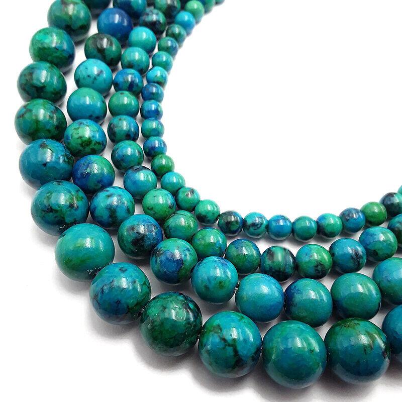 "Azurite Smooth Round Beads 4mm 6mm 8mm 10mm 12mm 15.5"" per Strand"