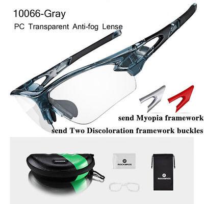 efa416e4e6965 RockBros Cycling Plastic Clear Photochromic Glasses Anti-fogging Eyewear  Gray