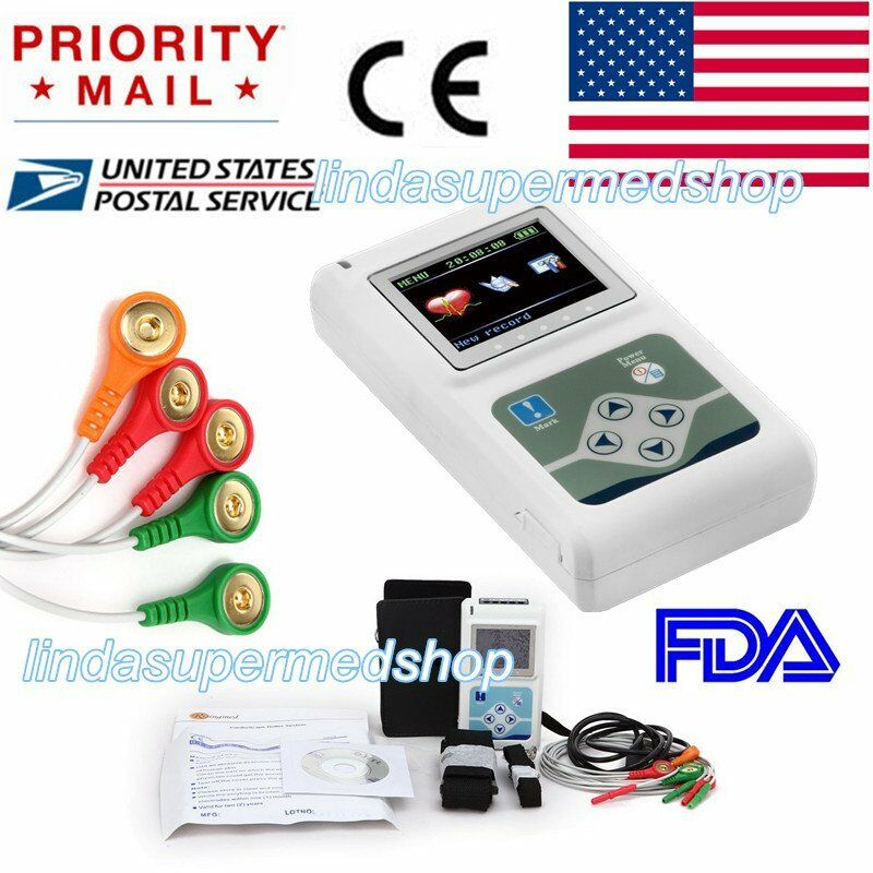 New 3Channel 24 hours Recorder  ECG/EKG Holter Monitor System FDA CONTEC US