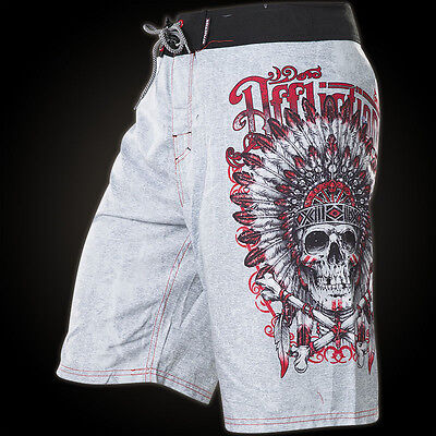 Affliction Mens Board Shorts Ac Apache Skull Indian Biker Fight Gym Mma Ufc  58