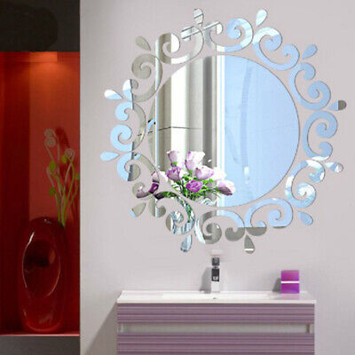 Home Decoration - 3D Mirror Round Wall Sticker Decal DIY Home Room Art Mural Decor Removable