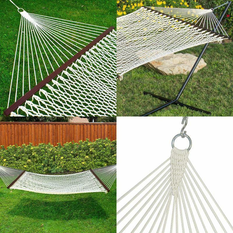 Double Hammock Woven Cotton Rope with Wood Spreader and Carr