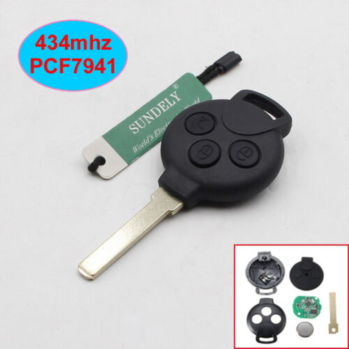 Keyless Remote Key Fob 3 BTN 434MHz 7941 Chip for Smart Fortwo 451 2007-2013