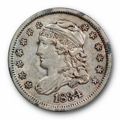 1834 Capped Bust Half Dime About Uncirculated to Mint State US Type Coin #8548