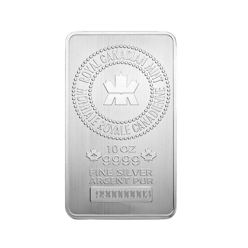 10 oz Royal Canadian Mint RCM .9999 Fine Silver Bar
