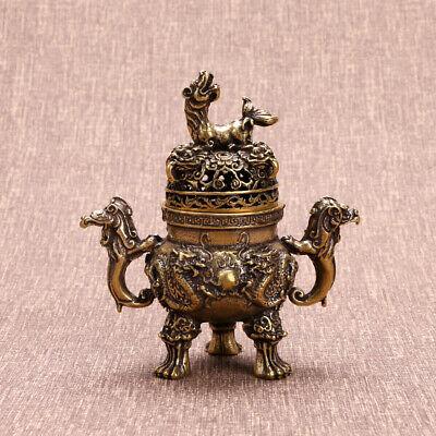 7CM Bronze Incense Burner Holder Chinese Cone Statue Flower Censer Q5W9