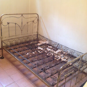 Antique bed frame with springs Edmonton Edmonton Area image 1
