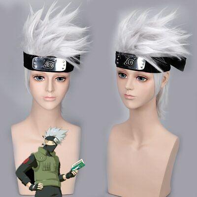 Anime NARUTO Hatake Kakashi Cosplay Silver White Short Wigs + Headband + Mask - Headband Wigs Short