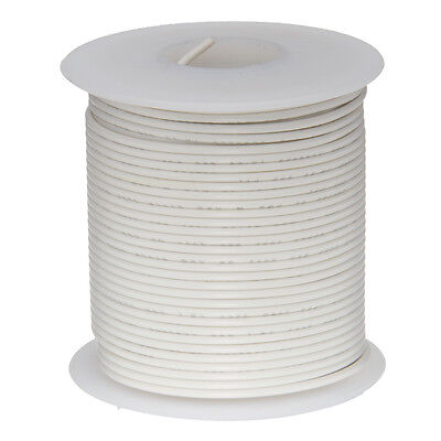 24 Awg Gauge Solid Hook Up Wire White 100 Ft 0.0201 Ul1007 300 Volts
