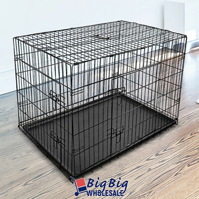 "36"" [Intermediate] Portable Folding Dog Crate Pet Cage Pen Kennel 2-Doors w/Tray"