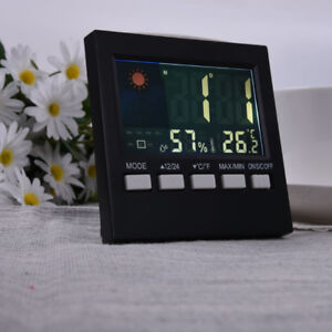 LCD Digital Thermometer Hygrometer Humidity Clock Weather Meter