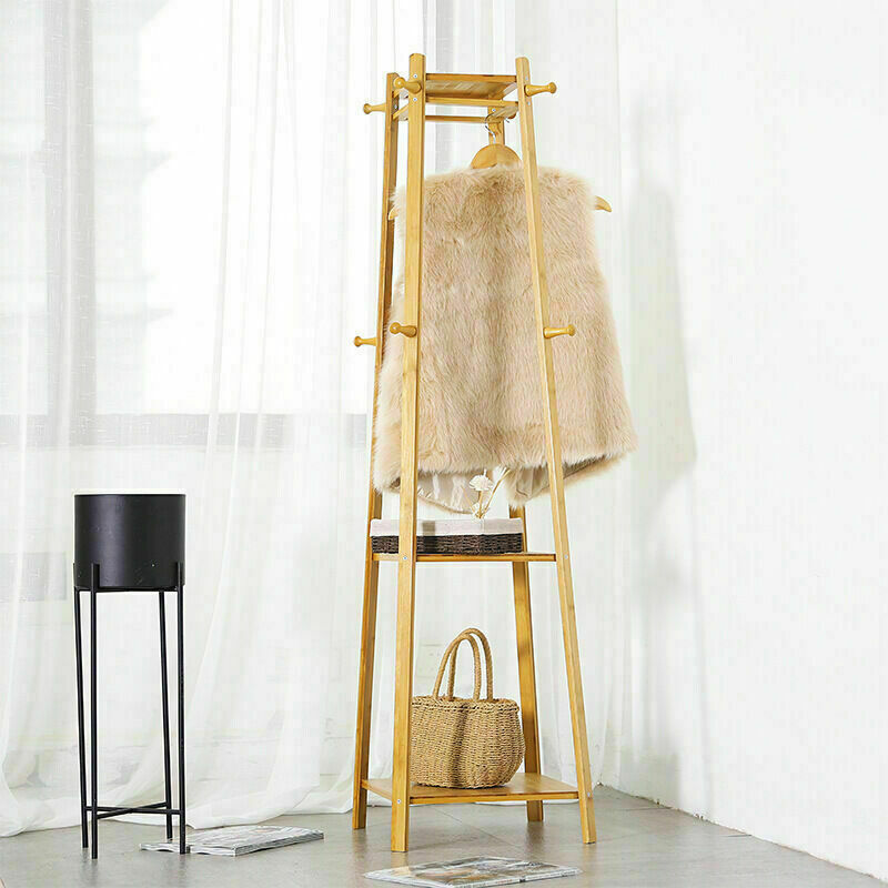 3 Layer 8 Hooks Shelf Clothes Coat Hat Rack Tree Stand Bamboo Hanger Organizer