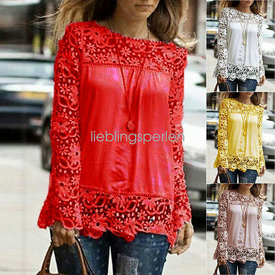 Купить go_vovotrade - Plus Size S-5XL US Women Long Sleeve Shirt Casual Lace Loose Casual Tops Blouse