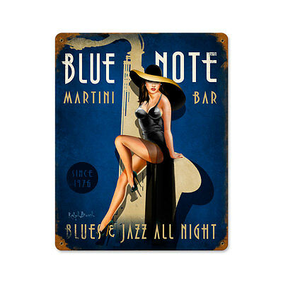 Vintage Style Retro Blue Note Jazz Club Sexy Pinup Steel Metal Sign 12 x 15 in.