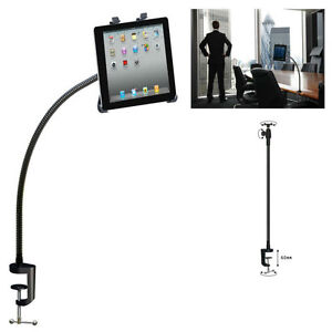 Flexible Desk Table Gooseneck iPad Tablet Handfree Holder bolt Clamp Mount Stand