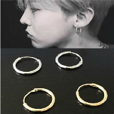 12mm Silver Gold Plated Small Endless Hoop Ear Stud Earrings Round Jewelry Small Ear Plate