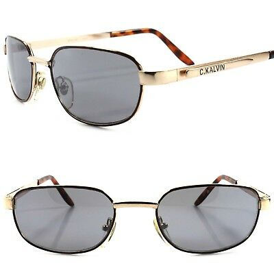 C.KALVIN - Genuine Vintage 80s Urban Fashion Gold Tortoise Rectangle Sunglasses
