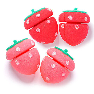 [ETUDE HOUSE] My Beauty Tool Strawberry Sponge Hair Roll 4pcs/ Hair curling tool
