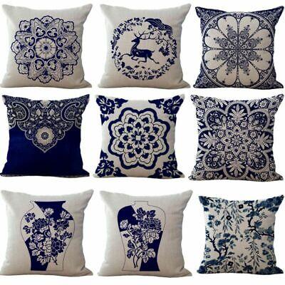 - Vintage Cotton Linen Blue Flower Throw Pillowcase Waist Cushion Cover Home Decor