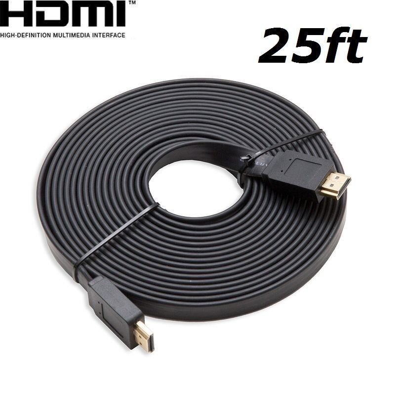 HDMI 25ft Flat HDMI V1.4 3D Ethernet Cable For Blu-ray DVD Xbox One PS4 HDTV BK Consumer Electronics