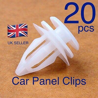 Car Door Trim Panel Hood Plastic Screw Rivet Fender Clips 9mm 20 Pcs White