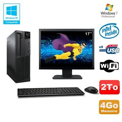 Lot PC Lenovo M91p 7005 SFF G630 2,7Ghz 4Go 2To WIFI W7 Pro + Ecran 17