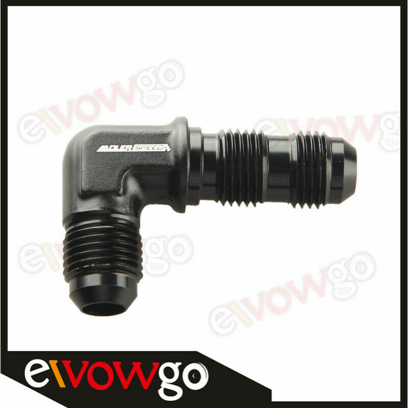 BLACK AN6 Female to 6AN AN-6 Male 90 Degree Flare Swivel Fitting Adapter