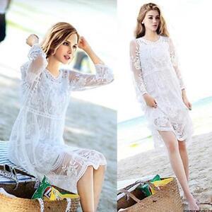 Women LONG SUN DRESS PEASANT BOHO MAXI WHITE Lace Crochet HIPPIE GYPSY Ball Gown