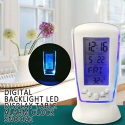 Snooze Thermometer Alarm Clock Digital Backlight LED Display Table Clock White