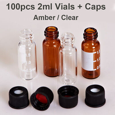 100pcs 2ml Sample Vials Caps Clear Amber Glass Bottle Vial 8-425 Screw Top Lab