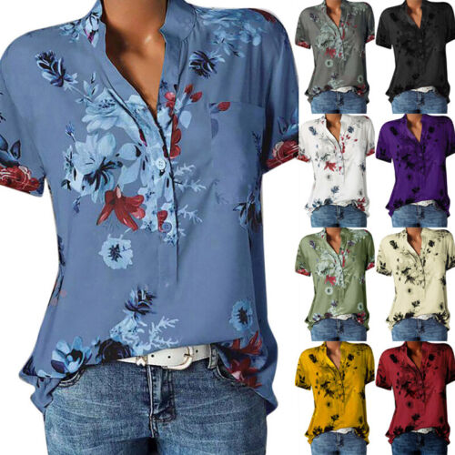 Women Summer Short Sleeve Button T Shirt V Neck Casual Floral Blouse Loose Tops