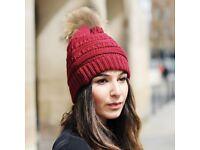 DAYMISFURRY-- Knit Beanie Hat In Red With Finn Raccoon Pom Pom