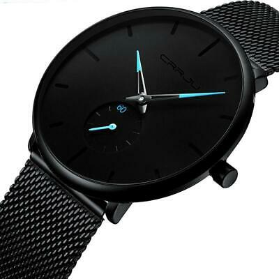 Minimalist and modern Gender Neutral CRRJU thin wristwatch. Black dial with blue